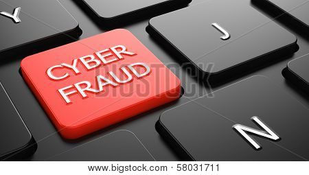 Cyber Fraud on Red Keyboard Button.