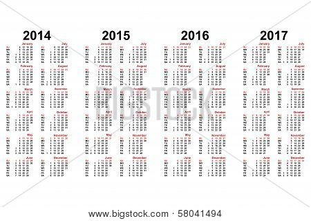 Calendar From 2014 To 2017 Years