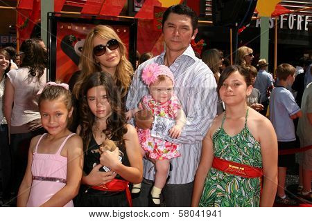 Yvonne Boismier Phillips with Lou Diamond Phillips and family  at the Los Angeles Premiere of