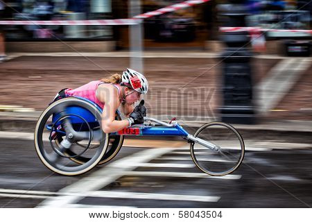 Wheelchair athlete competing in Sydney race