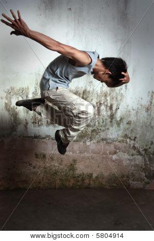 portrait of hip hop dancer in action poster