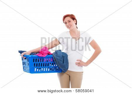 Happy Woman With Her Laundry