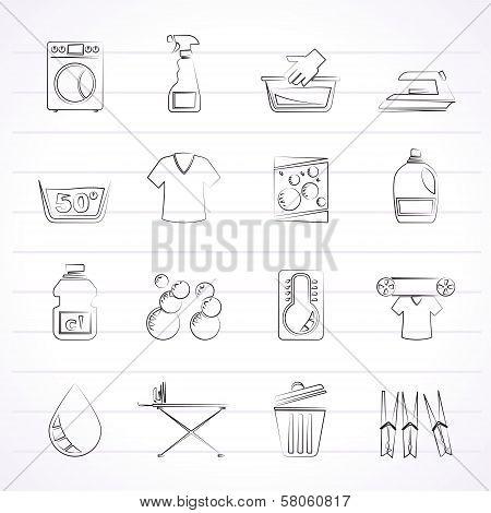 Washing machine and laundry icons