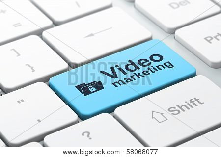 Business finance concept: computer keyboard with Folder With Lock icon and word Video Marketing, selected focus on enter button, 3d render poster