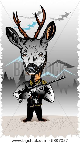 vector illustration of a Deer hunter holding a rifle poster