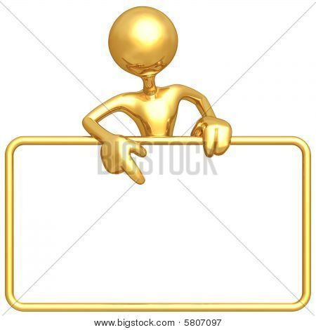 3D Character Holding A Blank Sign