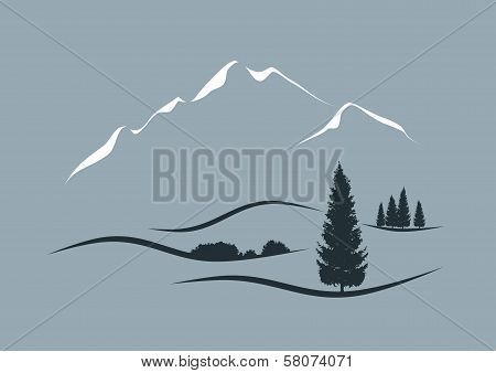 alpine landscape with mountains