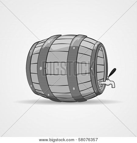 Old wooden barrel filled with natural wine or beer. Keg.