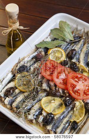 Crispy baked fresh sardines, mackerel fishes