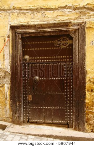 Old Ancient Door To A Arabic Home. Fes Medina, Morocco.