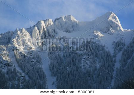 Majestic mountain peaks in deep snow