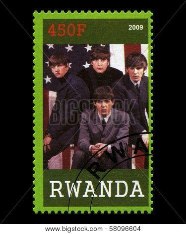 Beatles Postage Stamp From Rwanda