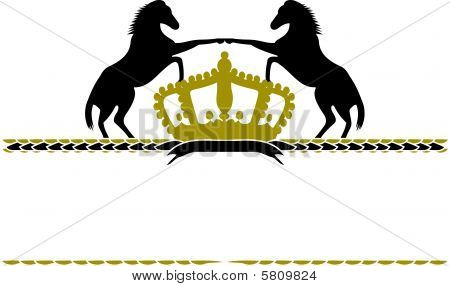 Horse Silhouette On White Background With Crown