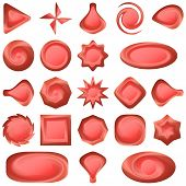 Buttons set, red icons of different forms for web design. Vector eps10, contains transparencies poster