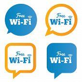 Wifi speech bubbles. Free wifi symbols. Wireless Network icons. Wifi zone. Vector illustration. poster