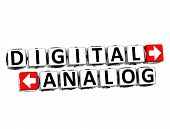 3D Digital Analog Button Click Here Block Text over white background poster