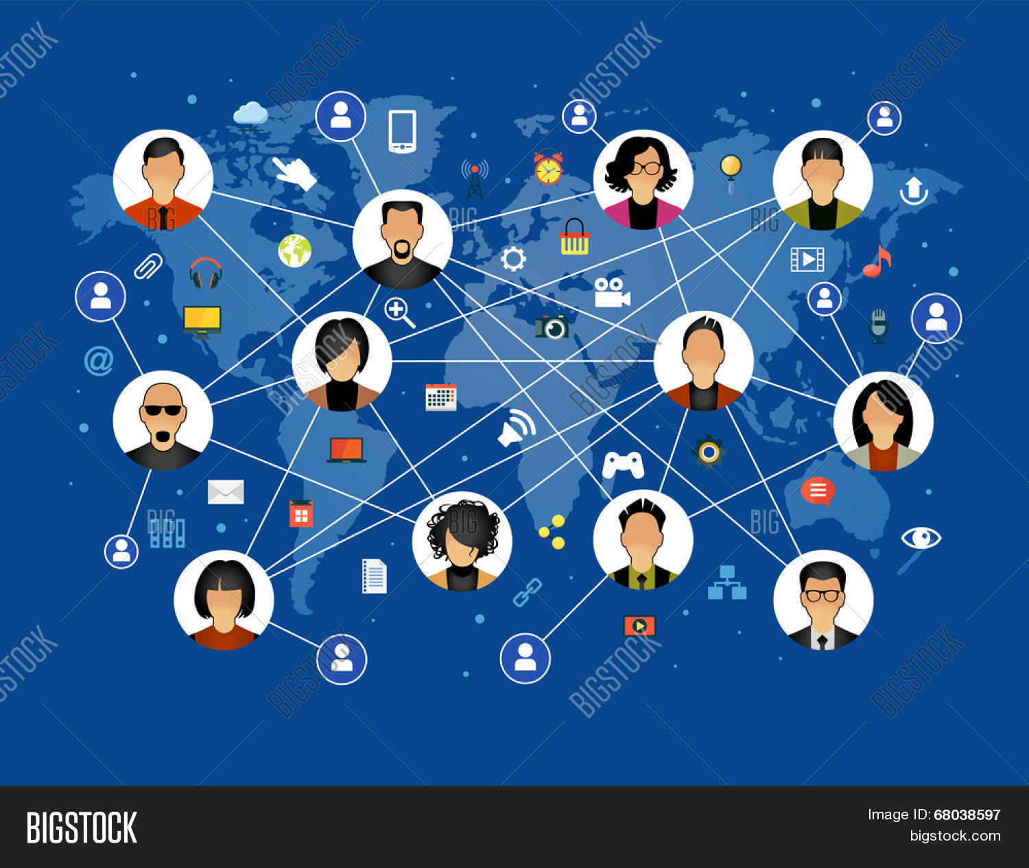 Flat design vector photo free trial bigstock flat design background the communications in a global computer network avatars set on world map gumiabroncs Gallery