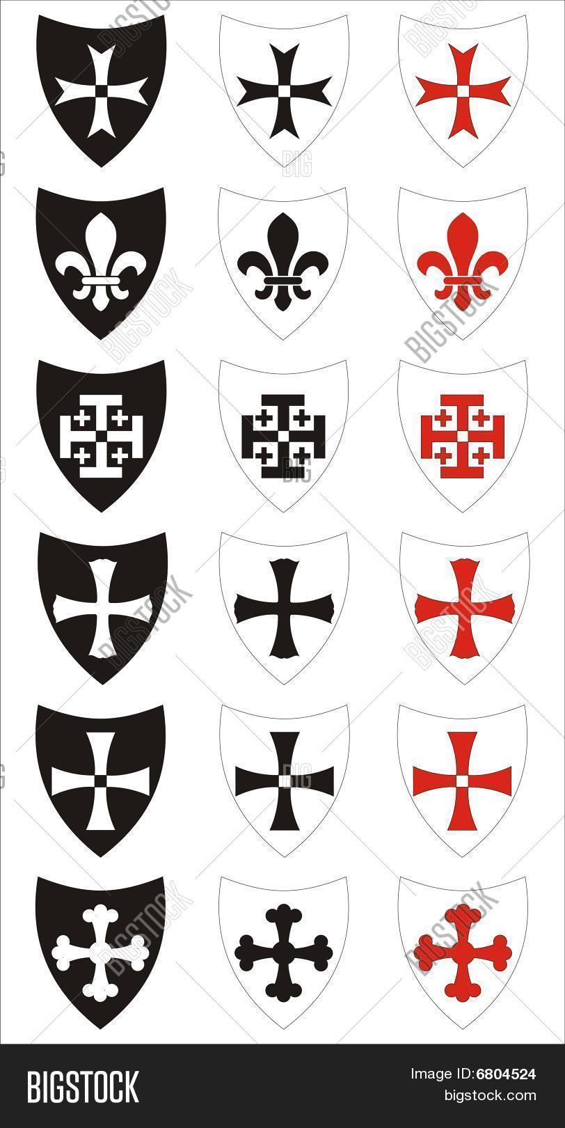Set Heraldic Symbols Vector Photo Free Trial Bigstock