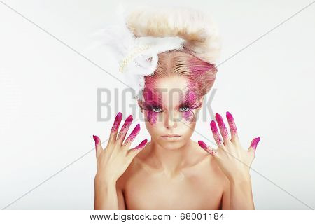 Creative Makeup. Outre Woman's Spotted Face And Stained Fingernails