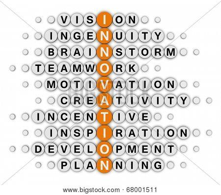 innovation concept (orange-white crossword series)