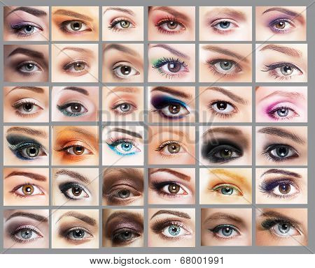 Mascara. Great Variety Of Women's Eyes. Set Of Eyeshadow