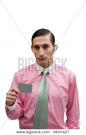 Young Handsome  Confident  Businessman With Grey Card In Hand On White Background