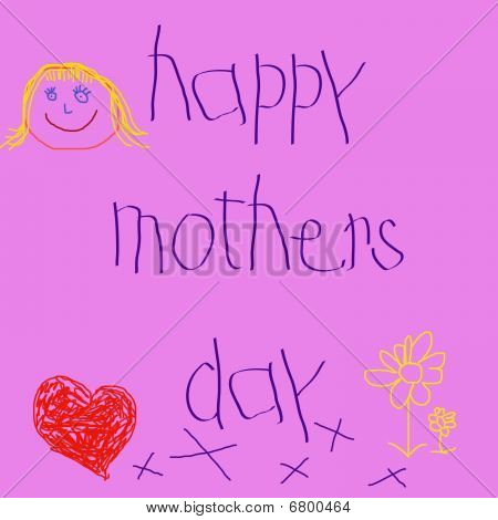 child's message - happy mothers day, written by a small child in scribbly writing with scribbly drawings poster