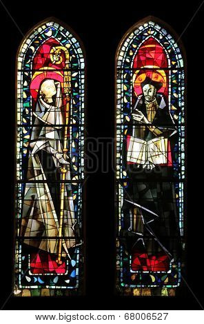 PARIS, NOV 9, 2012: Stained glass in the Church of St. Peter in Montmartre, according to the earliest biography of Saint Ignatius Loyola, the church is a place of establishment of the Society of Jesus