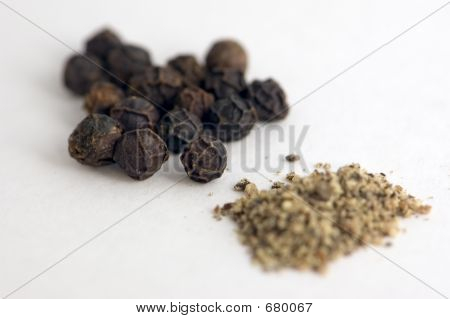 Whole And Ground Pepper