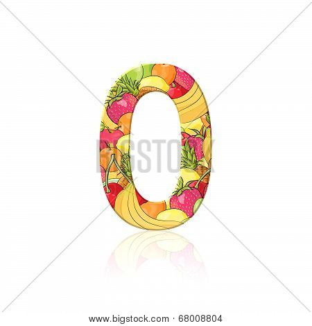 Number 0 With Fruit Effect Over White Background