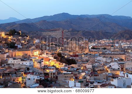 Od Town Of Lorca at night. Spain