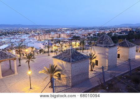 Old Town Of Lorca at night. Spain