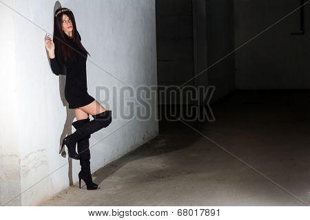 Fashion Woman In A Grunge Underground