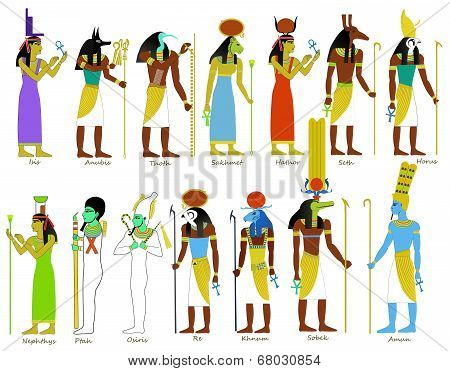 A set of ancient Egyptian gods