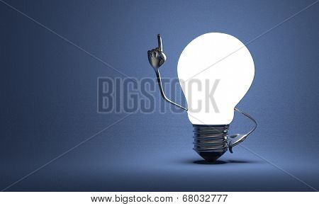 Glowing light bulb character with big metallic hands in moment of insight on blue textured background poster