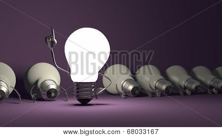 Light Bulb Character, Aha Moment  On Violet