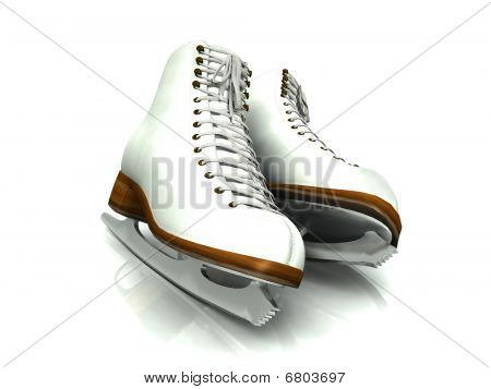 A Pair Of White Figure Skates.