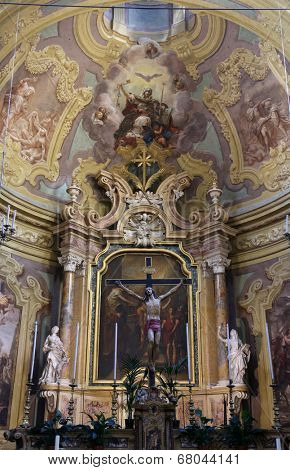 PARMA, ITALY - MAY 01, 2014: Altar in the church of Saint Vitale. The church of St Vitale is located in the historic center of Parma, not far from City Hall