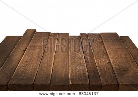 Wood Table In Perspective On White Background