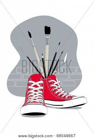 Red Sneakers and artistic brushes
