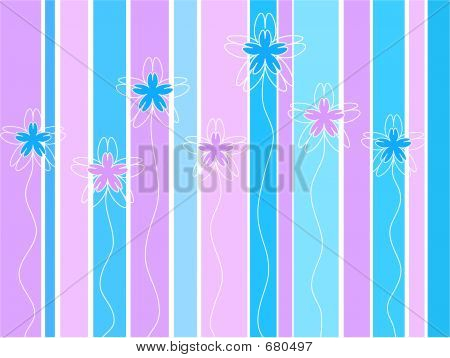 Floral strings on stripes poster