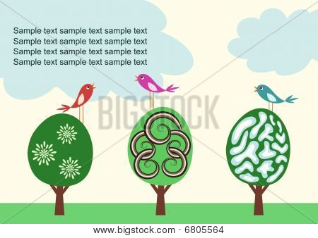 Vector template with cute trees and birds