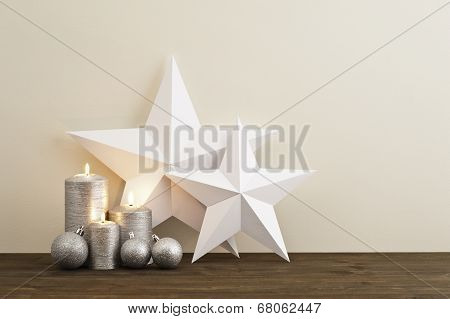 Two Stars With Silver Candles