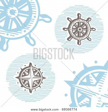 Vintage marine symbols vector icon set: engraving wheel and wind rose