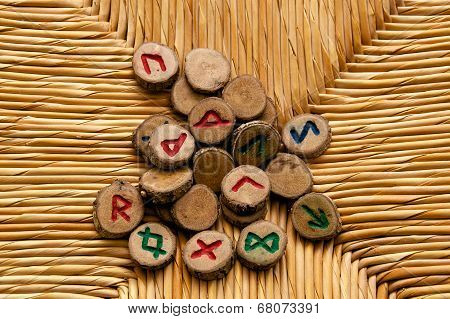 Divination Runes On Rattan Surface