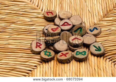 Germanic Runes On Wicker Surface
