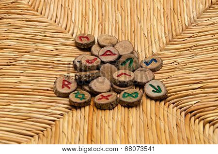 Runes On Rattan Surface