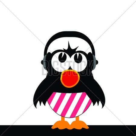 poster of bird singing with headphones art illustration vector
