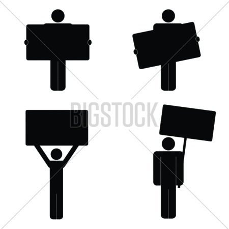 Human Icon With Board Vector Illustration