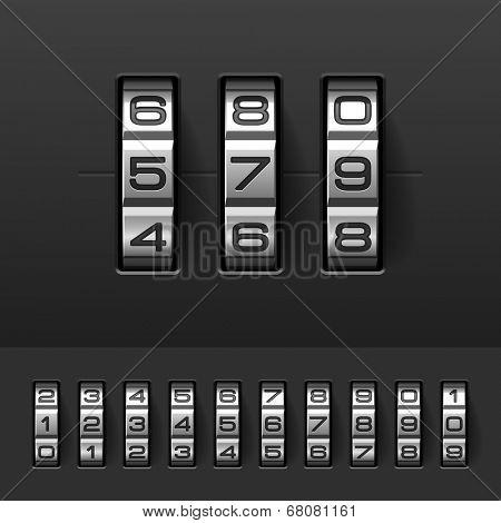 Combination, code lock numbers. Vector.